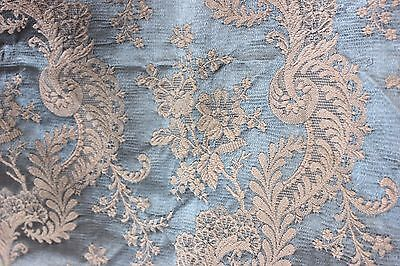 Lovely French Ice Blue Antique c1860 Silk & Cotton Home Dec Fabric Textile