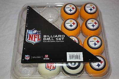 NEW Licensed NFL Pittsburgh STEELERS Football Billiard Pool Cue Ball Half  Set
