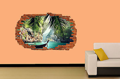 FISHING BOAT ON CARIBBEAN SEA  WALL STICKER ROOM DECORATION DECAL MURAL A