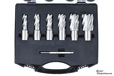 6pc Set Annular Cutter Cobalt 34 Weldon Shank 916 1-116 Magnetic Drill Bit