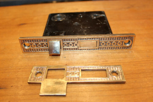 Antique Ornate Victorian Mortise Lock  & Matching Strike Plate  O-10
