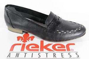 Rieker-Slipper-Ballerina-nero-pelle-con-suola-interna-in-pelle-morbida-NUOVO