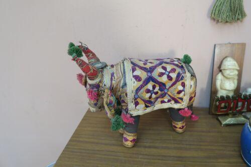 "Vintage Embroidery Mirrorwork Bull Figure 12""x13"" Ethnic Rajasthan Banjara India"
