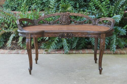 Antique French Rococo Caned Bench Settee Entry Hall Chair Carved Walnut 19th C