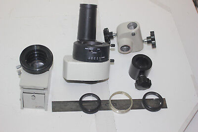 Lot Of 8 Stereo Microscope Parts Photo Tube Adpter Hoder Rod Support And...