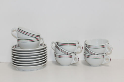 Iroquois China Restaurant Ware Green Red Stripes Syracuse; 8 Cup & Saucer Sets