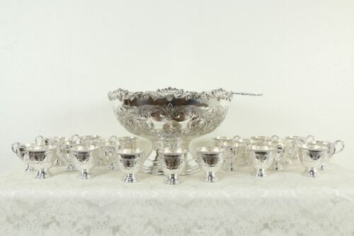 Silverplate Punch Bowl, 23 Footed Cups, Ladle Vintage by International #33627