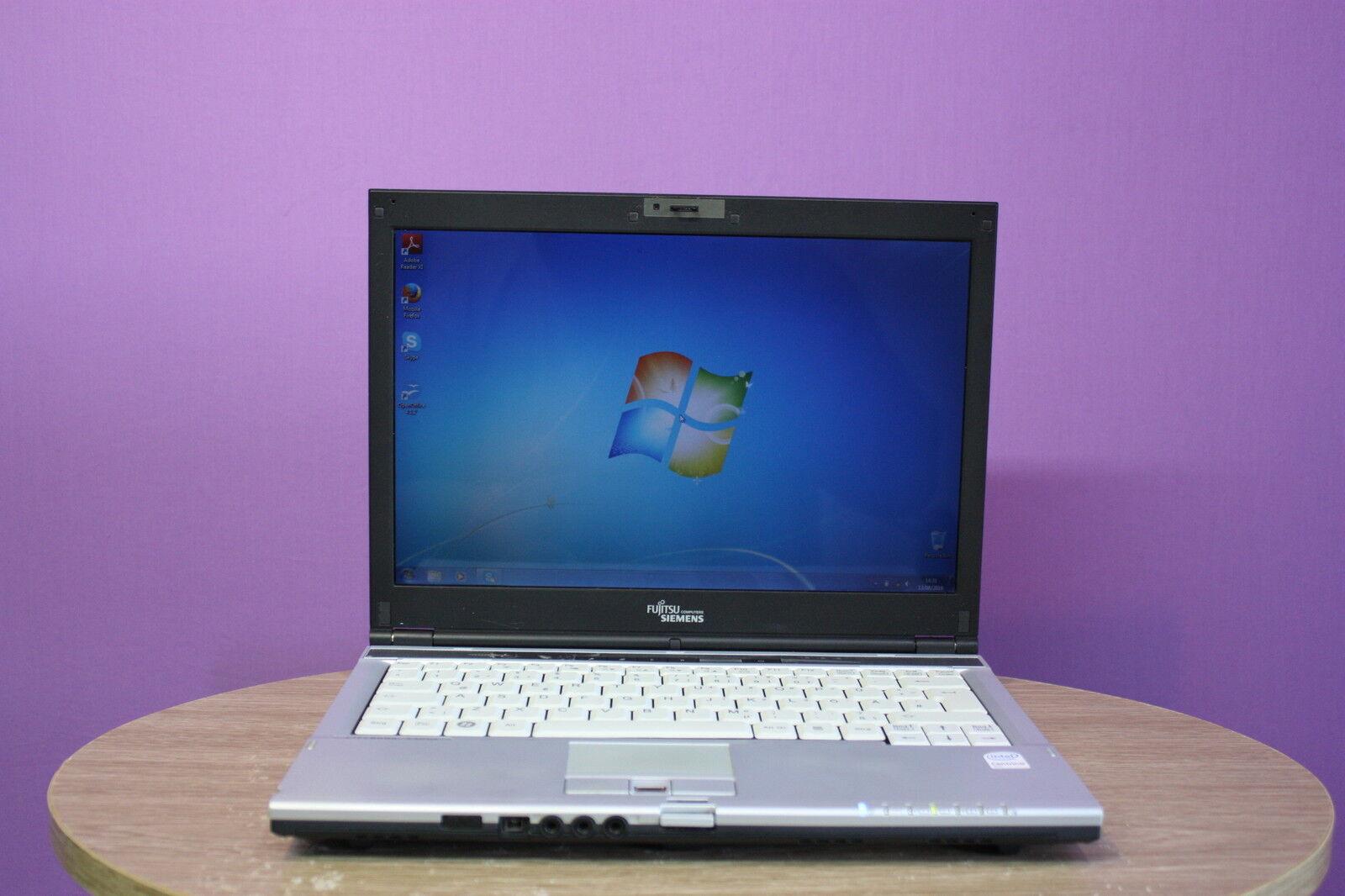 "Laptop Fujitsu S6410 13.3"" Core 2 Duo 2GHZ 2GB 80GB WEBCAM Windows 7 Genuine"