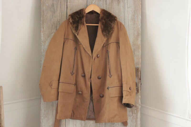 Coat or Jacket Vintage French canvas hunting faux fur men