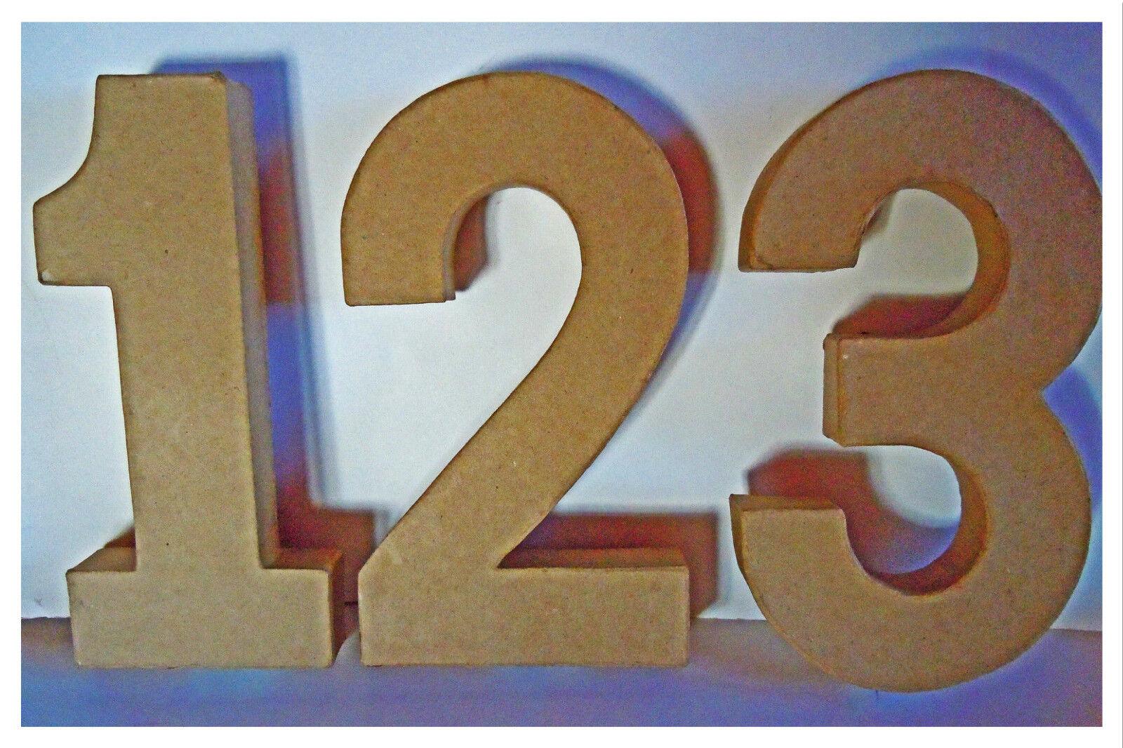 Papp Art, Pappzahlen 0 - 9, Größe 20,5 x 2,5 cm, Pappe, Pappmachè, Basteln