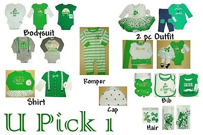 St Patricks Day 1st Outfit Holiday Bodysuit Shirt Pants Creeper Bib Dress  - St Patricks Dress
