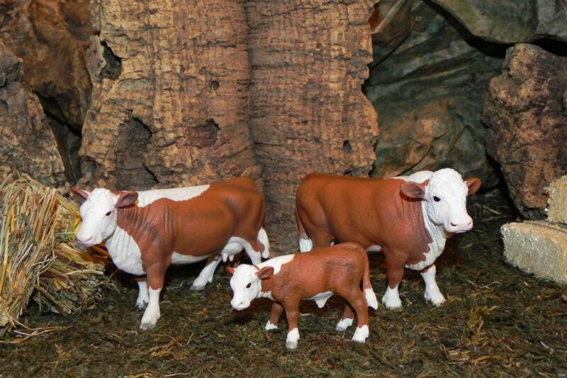 "Retired Schleich Bull, Cow Calf Hereford Figurines for 3.5"" Nativity Scene Farm"