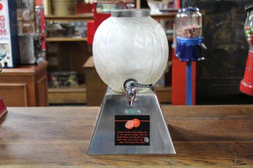 1930s Orange Crush Syrup Dispenser Juice Drink Frosted Glass Globe