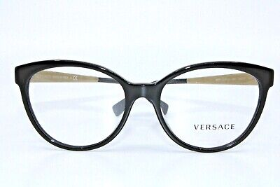 Versace VE3237-A GB1 Black with Gold Eyeglasses New Authentic 54
