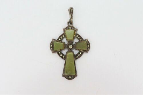 VTG 925 Sterling Crucifix Cross Pendant Ireland Marcasite & Connemara Marble 4G