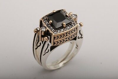 Turkish Jewelry Reversible Square Black Onyx Topaz 925 Sterling Silver Ring - Turkish Princess Costume
