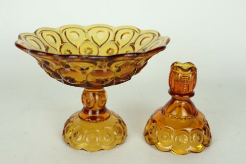 Vintage L.E. Smith Moon And Stars Amber Glass Compote + Candle Holder - See Pics
