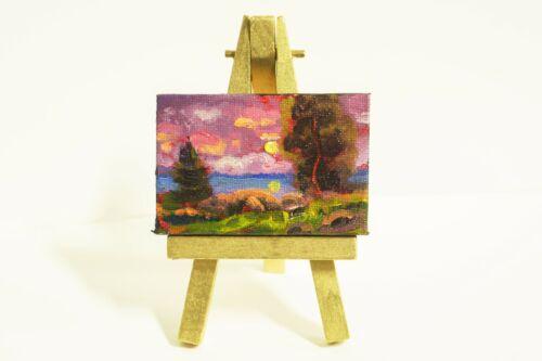 MAX COLE ART oil painting landscape antique vintage old style miniature easel 70