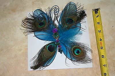 1 blue Peacock Butterfly Decoration Clips 7x6 w/ glitter - Winter Wonder Lane