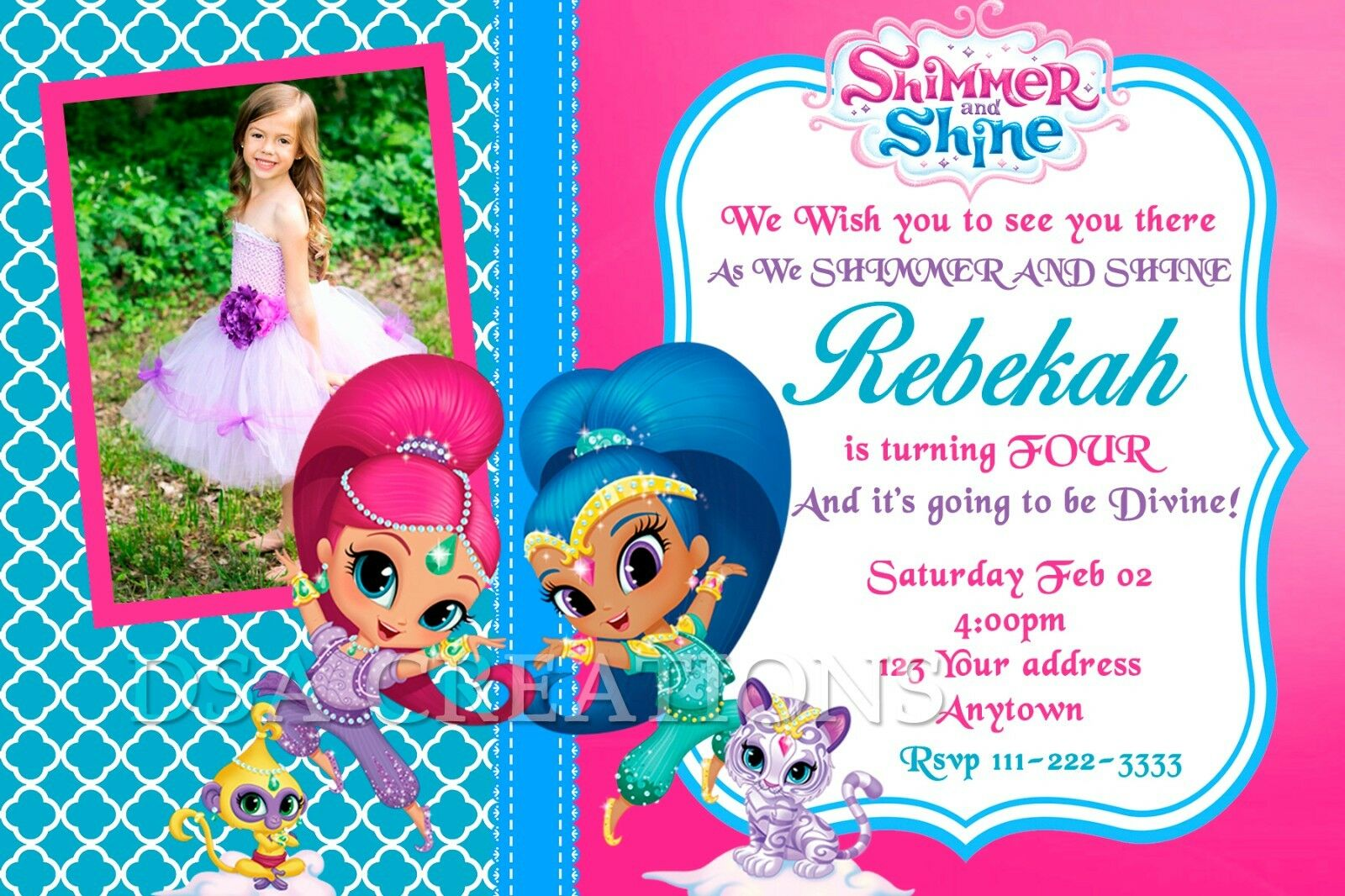 SHIMMER AND SHINE Birthday party invitations personalized custom – Personalized Birthday Party Invitations