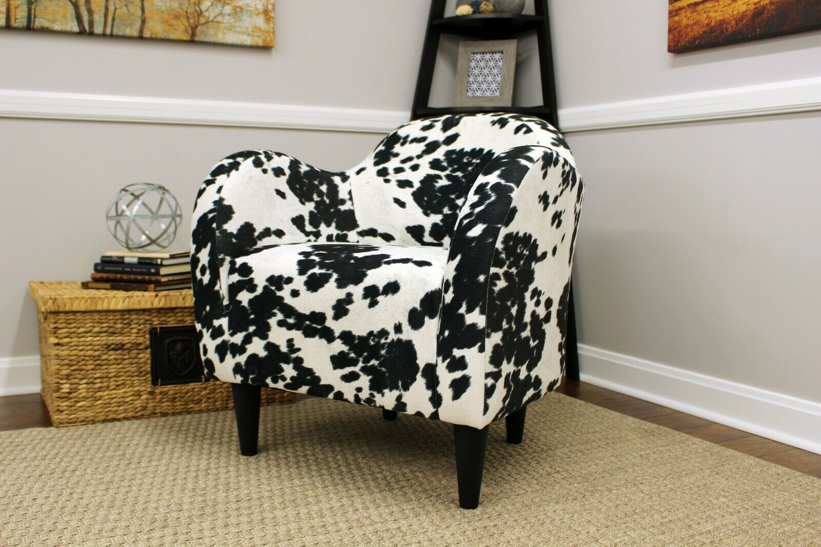 Mid Century Modern Accent Arm Chair Cowhide Cow Hide Upholstered Black White New