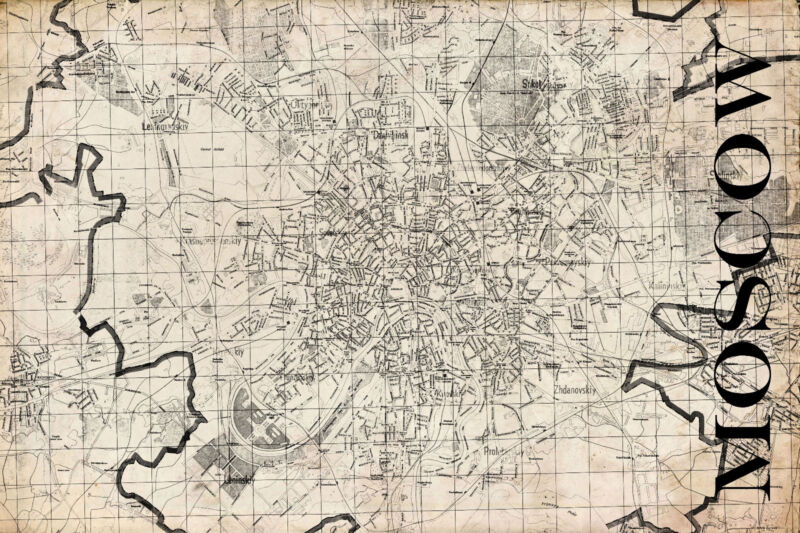 """Vintage Map of Moscow 20"""" x 30:"""