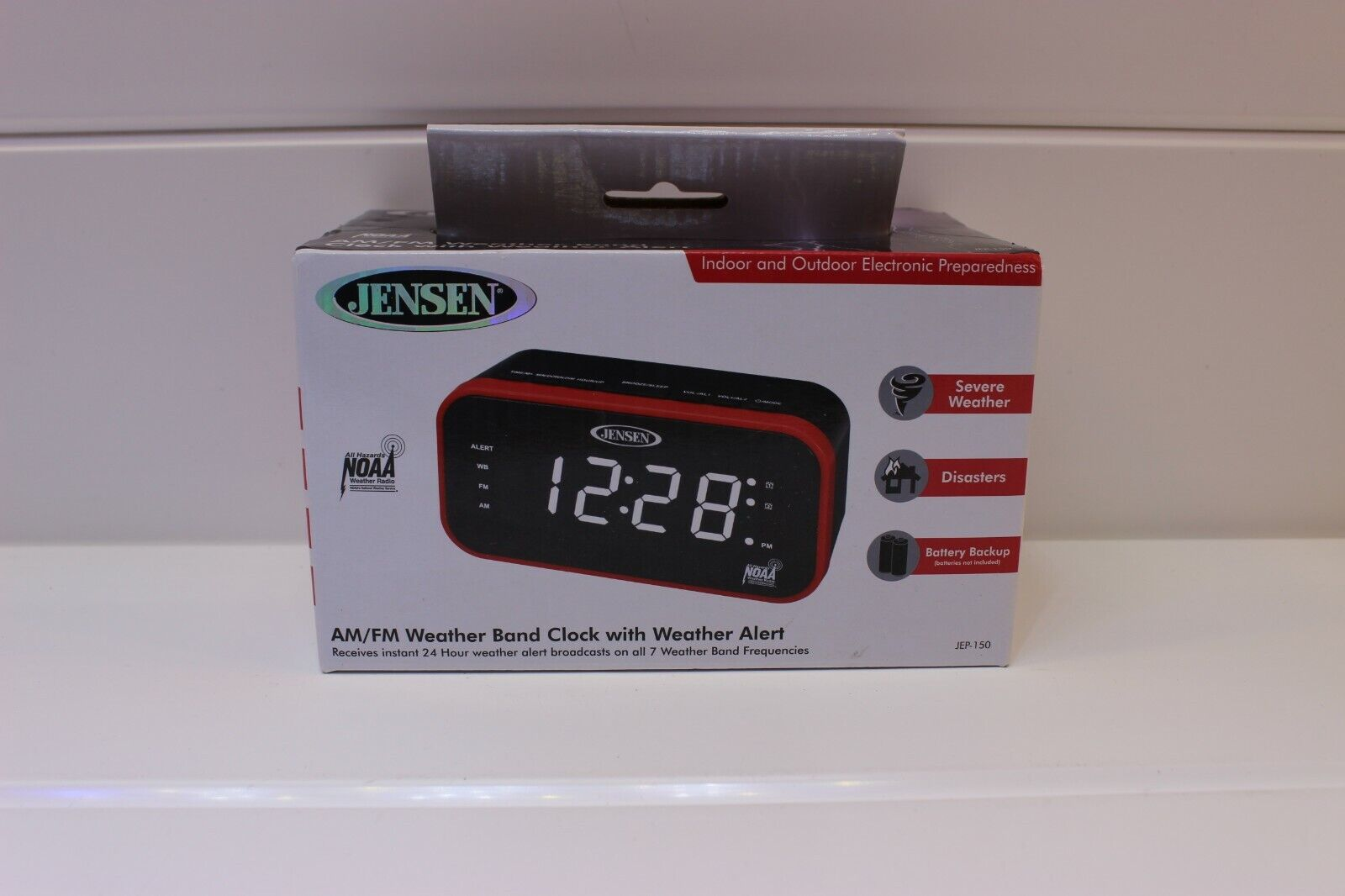 JENSEN JEP-150 AM/FM Weather Band Clock Radio with Weather A