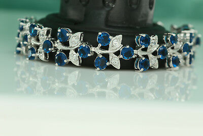 5.5ct 14K White Gold Blue Diamond Women's Bracelet Tennis Bracelet Wedding