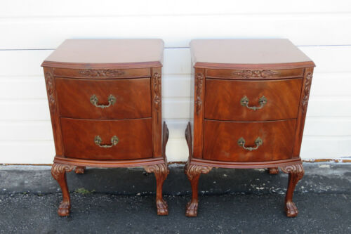 Ball and Claw Feet Mahogany Pair of Nightstands Side End Tables 1478