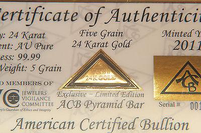 ACB 24k GOLD PYRAMID 5GRAIN SOLID BULLION MINTED BAR 99.99 FINE With COA! =
