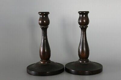 Pair 19cm Wood Turned Candlesticks