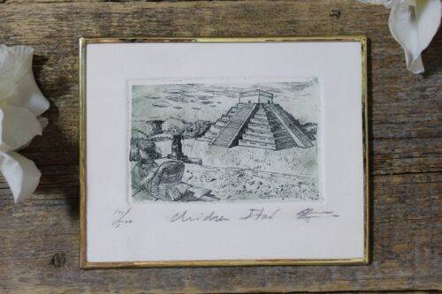 Mayan Pyramid of Kukulcan at Chichen-Itza Etching Mexican Folk Art by Abelar