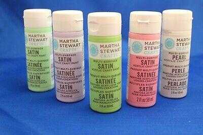 LOT of 5 MARTHA STEWART Acrylic Satin Paint ~ Spring Sorbet Colors! ~ - Martha Stewart Paint Colors