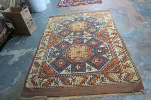 Antique Turkish Anatolian Konya Hand Knotted Wool On Wool  Rug 4