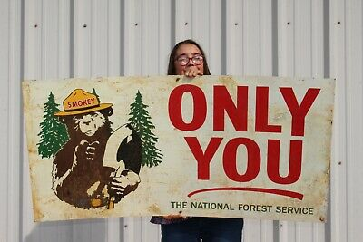 """Large Vintage Smokey Bear National Forest Hunting Fishing Gas Oil 48"""" Metal Sign"""