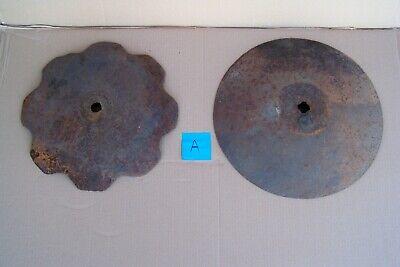 2 Large Vintage Plow Disc Blades 17 18 Old Farm Equipment Parts Steampunk