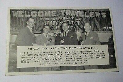 VINTAGE TOMMY BARTLETT ADVERTISING POSTCARD RADIO SHOW IVORY CRISCO HOTEL SHERM