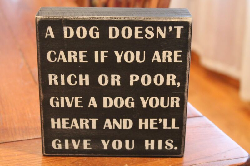 "Primitives by Kathy  ""A Dog Doesn't Care...."" Box Sign"