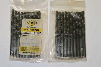 """Black Oxide 135° Split Point 10 pcs TWILL 7//64/"""" Stub Length HSS Twist Drills"""