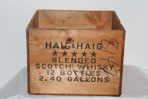 Vintage Haig & Haig Scotch Whiskey Empty Wood Crate Box Carrier 12 Bottles #2