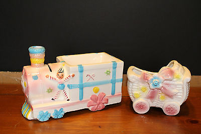 VTG ENESCO ceremic BABY's TRAIN BANK AND BABY CARRIAGE