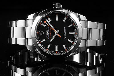 Rolex Stainless Steel Milgauss 116400, Black Dial on an Oyster Bracelet