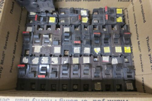 Lot of (45) Federal Pacific FPE Stab-Lok Circuit Breakers 15, 20 ,50 amp, Thin