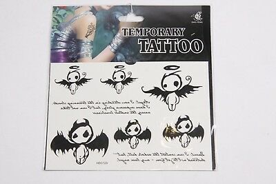 Pack Of 8 Temporary Tattoo's Halloween Angel Devil Themed Print Designs - Halloween Themed Tattoo
