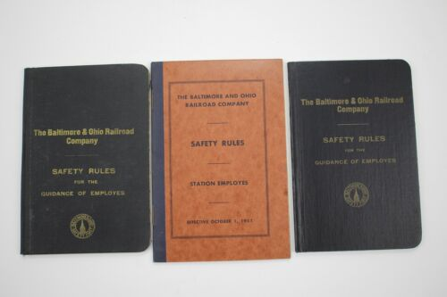 3 Vintage Baltimore & Ohio Railroad Company Safety Rules Books 1951 & (2) 1920
