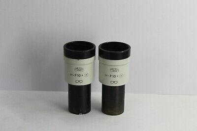 Zeiss Jena Microscope Eyepiece Pair Gf- P 10 X 20 23 Mm Mikroskop