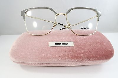 Miu Miu VMU 52O UET-1O1 Shiny Grey on Gold New Authentic Eyeglasses 52mm w/Case