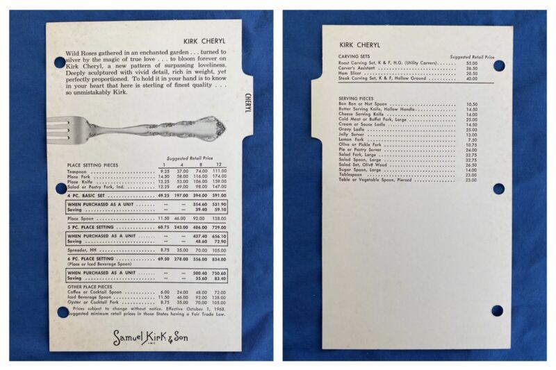 1968 Samuel Kirk & Son Price List Brochure Cheryl Sterling Silver