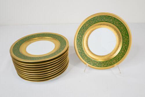 Bernardaud Limoges France Vergennes Green Bread Plates Set of 11 Gold Encrusted