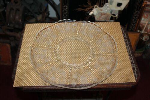 Antique Victorian Glass Serving Platter Plate Etched Flower Design Large